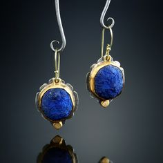 Azurite Earrings. Fabricated Sterling Silver, 18k and 22k. www.amybuettner.com https://www.facebook.com/pages/Metalsmiths-Amy-Buettner-Tucker-Glasow/101876779907812?ref=hl https://www.etsy.com/people/amybuettner http://instagram.com/amybuettnertuckerglasow