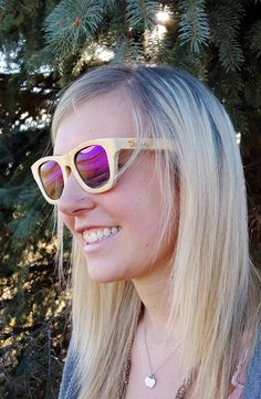 Bamboo wood sunglasses in Flourish Purple. One tree planted for each sale! www.etsy.com/shop/ThriveShades