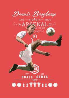 Dennis Bergkamp Arsenal Print by KieranCarrollDesign on Etsy
