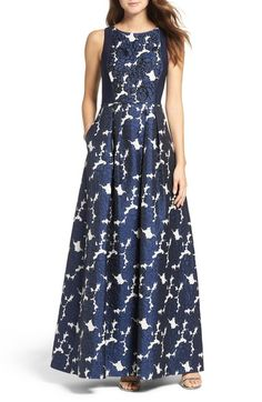 Adrianna Papell Embellished Jacquard & Jersey Ballgown available at #Nordstrom