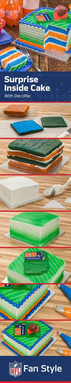 Surprise! This sneaky Surprise Cake recipe brings team spirit to the inside as well as the outside of your next baking adventure. Layer up team colors, then add icing, piping, and DecoPac accessories and you're good to go for gameday.