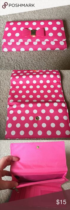 Pink polka dot wallet APT brand wallet, only used once Apt. 9 Bags Wallets