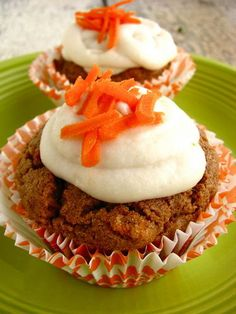 Grain & Egg Free Carrot Cake Cupcakes (Gluten Free/Vegan/Soy free with directions to make sugar free) Gluten Free Cupcakes, Vegan Cupcakes, Gluten Free Sweets, Gluten Free Baking, Vegan Sweets, Vegan Baking, Egg Free Carrot Cake, Carrot Cake Cupcakes, Vegan Carrot Cakes