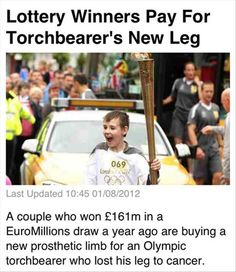 Lottery Winners Pay For Torchbearer's New Leg   Faith In Humanity Restored – 50 Pics