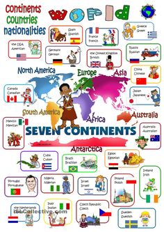 World - continents, countries, nationalities Language: English Grade/level: elementary School subject: English as a Second Language (ESL) Main content: Countries and nationalities Other contents: continents, countries, nationalities English Games, English Resources, English Activities, English Lessons, Learn English, English Vocabulary, English Grammar, Teaching English, Continents And Countries