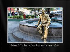 Estatua de Tin Tan en La Plaza de Armas en Cd. Juarez Chih. Mexico.