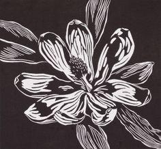 """Black and White Wild Magnolia Linocut"" (Original Art from Maryanna Williams)"