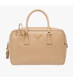 Prada 1BB095 Leather Top-Handle Bag In Khaki