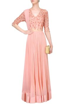 Rose pink floral embroidered anarkali set available only at Pernia's Pop Up Shop.