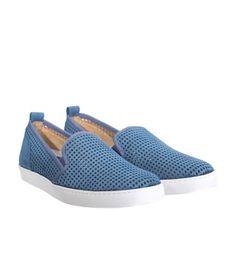 Slip on traforate in velour blu