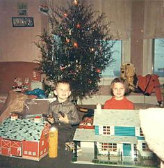 1960s Christmas morning photos - Debra Reid and her brother