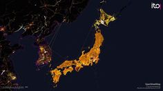 Showing five years of edits to OpenStreetMap in Japan between 2007 and 2011.