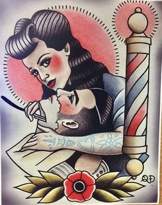 I like the pose but I'd change the barbershop theme. Barber Poster, Barber Logo, Desenhos Old School, Barber Tattoo, Barber Shop Decor, Sailor Jerry, Flash Art, Acrylic Painting Canvas, Traditional Tattoo