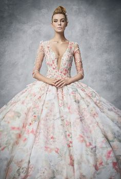 Red Printed Floral Wedding Dresses / http://www.deerpearlflowers.com/floral-wedding-dresses/