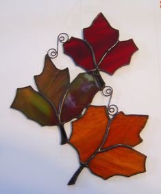 Items similar to Floating Trio of Autumn Fall Leaves Stained Glass Suncatcher Can be hung different ways on Etsy Stained Glass Ornaments, Stained Glass Christmas, Stained Glass Flowers, Stained Glass Suncatchers, Faux Stained Glass, Stained Glass Designs, Stained Glass Panels, Stained Glass Projects, Stained Glass Patterns