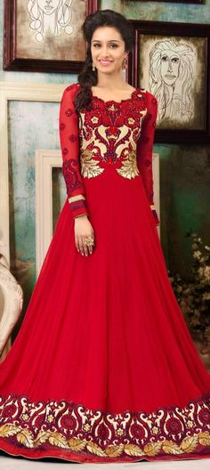 Celebrity Style Salwar Kameez #ShraddhaKapoor looks stunning in floor length #anarkali. #Get this look here!