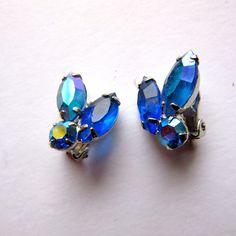 60s Blue Rhinestone Earrings - Costume Jewelry - Clip On - Iridescent Rhinestones - 50s - Tear Shape by stateandmainvintage on Etsy