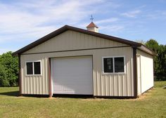 """Building Dimensions: 24' W x 24' L x 8' 4"""" H (ID# 230) 24' Standard Trusses, 4' on Center, 4/12 Pitch  Colors: Siding Color: Beige Roofing Color: Brown Trim Color: Brown  For More Information: http://pioneerpolebuildings.com/portfolio/project/24-w-x-24-l-x-84-h-id-230-total-cost-9046  Or Call: 1-888-448-2505  Pioneer Pole Buildings, Inc. 716 South Route 183 Schuylkill Haven, PA. 17972"""