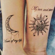 Výsledok vyhľadávania obrázkov pre dopyt couple tattoo sun and moon