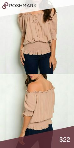 "RUFFLE TAUPE PEASANT TOP Off Shoulder Taupe Top has a drawstring design around the neckline to tighten or loosen as needed and also a stretch lower waist band. 100% RAYON  Size SMALL Description: L: 24"" B: 48"" W: 32"" Tops"