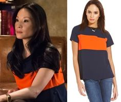Elementary season 2, episode 19: Click to find out where to get Joan Watson's (Lucy Liu) orange and blue color block tunic top #elementary #joanwatson