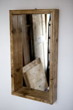 Mirror in recycled scaffold boards box frame door Naturalcity