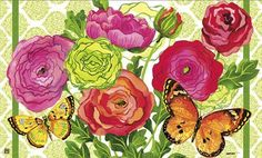 """Ranunculus Doormat by MatMates by MatMates. $22.00. MatMates Doormat SIZE: 18"""" x 30"""". Vibrant colors, fade-resistant doormats.. NOTE: Tray sold separately. TRAY SIZE: 24"""" x 36"""".. Use MatMates Doormats alone or with the decorative tray (as shown).. Made with non-slip rubber. Weatherproof for outdoor or indoor use.. NOTE: Doormat only. Tray Sold Separately.. RANUNCULUS Mat by MatMatesTMThis MatMatesTM interchangeable doormat is made with a non-slip backing of envi..."""