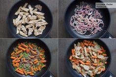Salteado de lomo con zanahorias, guisantes y aliño de crema de cacahuete. Receta saludable