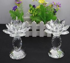 2016New design Free Shipping  100mm*130mm  clearly color  crystal lotus candleholder  for wedding party gift one pcs /lot