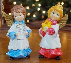 """Set of two Christmas Caroling Angels - Vintage items hand made in Korea. They would be an adorable addition to your Vintage Christmas collection! Both have """"Made in Korea"""" stickers on the bottom. Deta"""