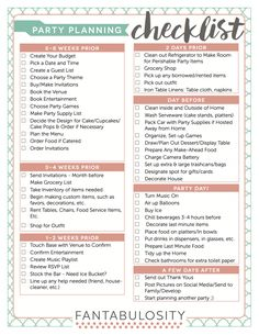 Party Planning Checklist - FREE Download http://fantabulosity.com