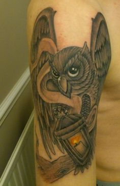 Owl and Lantern tattoo