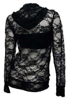Amazon.com: eVogues Plus Size Lace Zipper Front Hoodie Top Black: Clothing