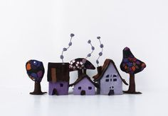 Miniature three cabins with three trees.  Miniature of three lovely cabins in violet tones and three trees. Made of felt, treated to get some rigidity.