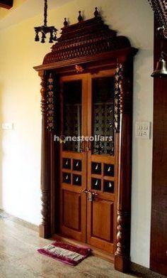 34 Trendy ideas for living room door design bedrooms Pooja Room Door Design, Main Door Design, Temple Design For Home, Mandir Design, Pooja Rooms, Indian Homes, Room Doors, Bungalows, Home Interior Design