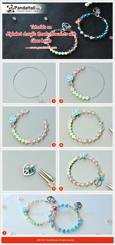 How to DIY Alphabet Acrylic Beads Bracelets with Glass beads Thread glass pearl beads, faceted glass beads, alphabet acrylic beads and polymer clay cabochon in turn, and add the heart and glass beads pendants, and then a cute bracelet is completed!
