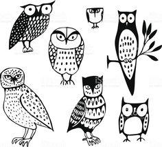 Seven Owls royalty-free stock vector art