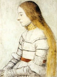 Portrait of Anna Meyer c. 1526 Sketch by Hans Holbein the Younger, Kunstmuseum, Öffentliche Kunstsammlung, Basle, This is the same young woman who appears in the Darmstadt Madonna (on this board). Renaissance Kunst, Renaissance Portraits, Women In History, Art History, Hans Holbein Le Jeune, Robert Campin, Hans Holbein The Younger, Drawing Course, Landsknecht