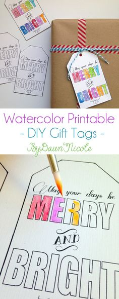 Watercolor Printable DIY Gift Tags | byDawnNicole.com