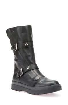 Free shipping and returns on Geox Doralia Tall Boot (Women) at Nordstrom.com. Dual buckle straps add the perfect element of moto edge to a richly grained leather boot grounded by a signature Amphibiox® membrane to ensure natural thermoregulation and waterproof breathability.