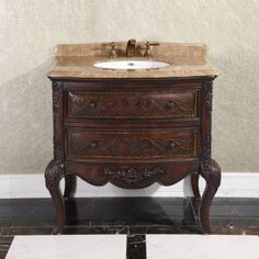 """Check out the InFurniture WB-1636L 36"""" Solid Wood Sink Vanity in Cherry Brown - Vanity Top Included priced at $1,851.15 at Homeclick.com."""