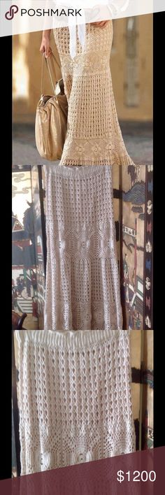"""Cream cotton crochet long skirt ❤️ Beautiful hand crochet skirt! ❤️ Unique! ❤️ Perfect for any occasion! ❤️ Lined with double spandex fabric for great support under skirt! ❤️ Elastic waist fits from 28"""" to 38"""", length of lining is 21"""", length of skirt is 42""""! Hips up to 39""""! ❤️ Ask for more details! ❤️ New! ❤️ BohoMoho Skirts Maxi"""