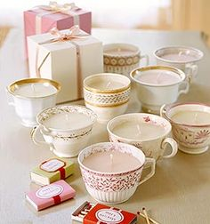 """Favors: Tea Cup Candles, super easy to make and I could have custom match boxes made with a cute saying """"Let love glow. Monica's Bridal Shower etc.."""" ?"""