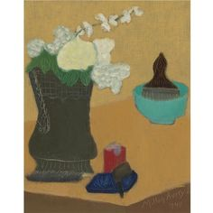 Artwork by Milton Avery, Flowers and Pipe, Made of oil on canvasboard