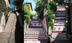 Artă urbană tradițională! Digital Transilvania scară cu motive ardelenești în Târgu Mureș