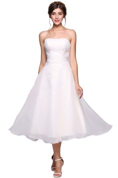 ANGVNS Women's A-Line Sweetheart Tea-Length Tulle Bridesmaid Dress Cocktail Evening Gown with Ruffle, Size 10, White