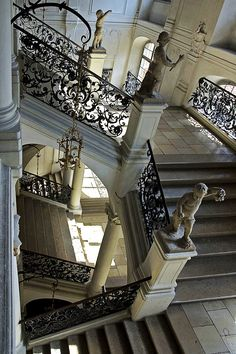 Baroque staircase by Maurizio Pedetti in the residence Eichstätt, former seat of the prince-bishops of Eichstätt, Bavaria, Germany.