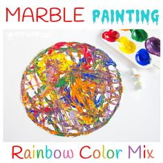 Have fun creating dynamic art with colorful marble painting. Kids will love experimenting with painting and color mixing in a new and physical way. Easy Painting Projects, Painting Activities, Craft Projects For Kids, Painting For Kids, Art For Kids, Nursery Activities, Children Activities, Time Activities, Color Activities