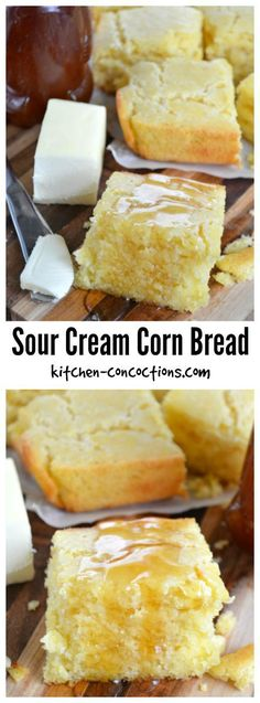 Sour Cream Corn Bread - Cornbread is a winter time staple as it pairs perfectly with soup and chili. This Sour Cream Corn Bread recipe can be made ahead of time and due to the sour cream, stays moist and tender. Not only is this cornbread recipe perfect for dinner, slather it with some jam or honey and add a little variety to your brunch or breakfast spread!