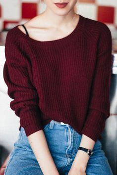 Wine Red Boat Neck Sweater WINE RED: Sweaters | ZAFUL